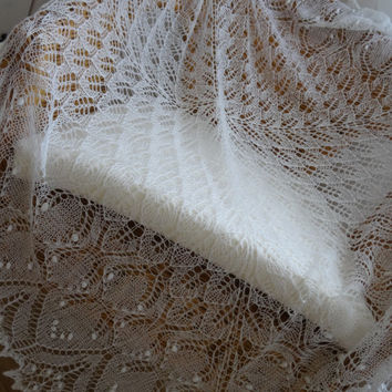 FREE SHIPPING Hand knitted lace shawl ,white wedding shawl, baby blanket, christening shawl Made to Order