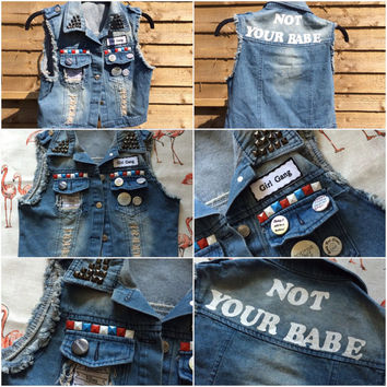 Studded denim jacket, Punk jacket, Custom jacket, Custom Denim jacket, Stud jacket, Patch jacket,