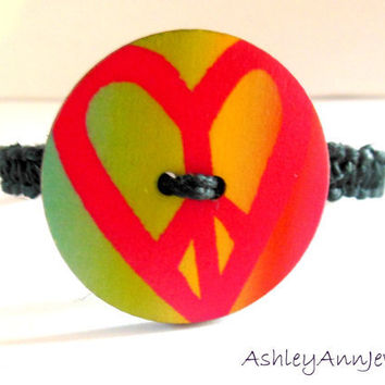 Peace Love Rainbow Button Hemp Bracelet by AshleyAnnJewelry