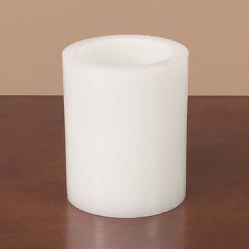 "5"" White Battery Operated Flameless LED Wax Pillar Candle"