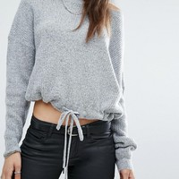 Noisy May Tall Drawstring Hem Cropped Sweat at asos.com