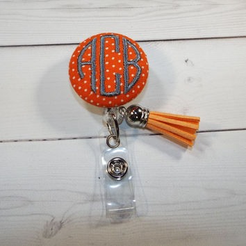 Retractable ID Badge Holder Reel  - Fabric Button tassel -  swiss pin dots with monogram 3 circle  initial custom