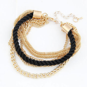 Golden Low-key Luxury Multi-layer Bracelet with Black Weaving String , Women's Fashion Accessory, Birthday Gifts, Party Jewelry 11022686