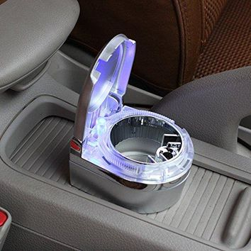 ZEM-PXD Car Home With Led Ashtray Car Mounted Mini Led Lamp Luminous Ashtray Silvery