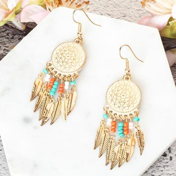 Boho Ethnic Circle Round Hanging Drop Earrings Women Bohemian Gold Color Leaf Tassel Acrylic Beeds Hiphop Brincos Charm Jewelry