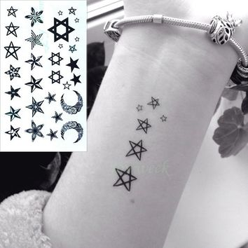 Waterproof Temporary Tattoo Sticker little star moon finger wrist anchor bird tatto stickers flash tatoo fake tattoos for women