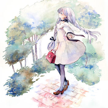 "Original Watercolor Painting B5  ""風抜く""  go through In wind  - Original picture,girl illustration,city illustration"