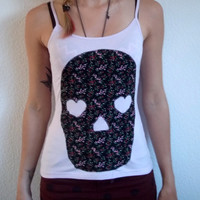 Pastel Pink Floral Heart Eyed Skull Tank Top