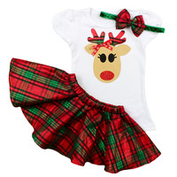 Girls Christmas Reindeer Outfit | Green and Red Plaid Twirl Skirt Christmas Outfit | Adorable Toddler and Baby Girls Christmas Outfit