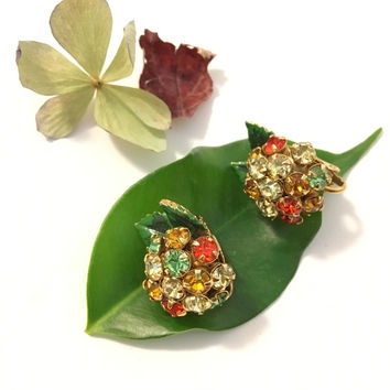 Cluster Rhinestone Earrings Vintage Red Orange Green and White Gold Tone Mid Century Clip On Earrings Multi Color Rhinestone Party Jewelry