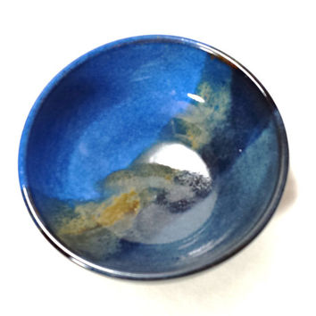 Blue Ceramic Pottery Bowl with multi colored stripe, ready to ship,cereal bowl, ice cream bowl,blue pottery,blue ceramic bowl