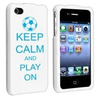 Apple iPhone 4 4S White Rubber Hard Case Snap on 2 piece Light Blue Keep Calm and Play On Soccer