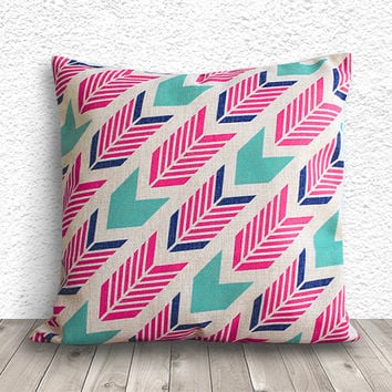 Geometric Pillow Cover, Pillow Cover, Fuschia Pillow Cover, Linen Pillow Cover, 18x18 - Printed Geometric - 015