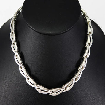 Silver Tone Trifari Choker Necklace, Brushed Silver Tone Oval Links, Open Centers, Signed Crown Trifari, Vintage 1960s 1970s Cown Trifari