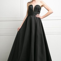 Strapless Ball Gown Prom Dress Empire Waist Lace Up Back Black