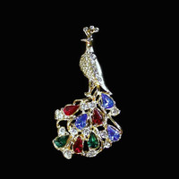Peacock Brooch Pin With Colored And Clear Rhinestones Set In Gold Tone, Scarf Pin