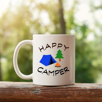Happy Camper Coffee Mug - Camping Coffee Mugs Cups - Custom Coffee Mug Cup