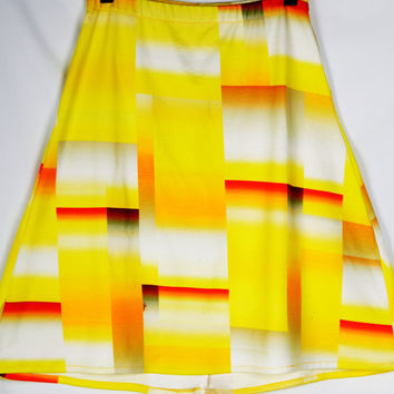 Geometric Sunset A-Line Knee Length Skirt - Bright Yellow, Red, and Orange Ombre Square Print in Soft Ponte de Roma