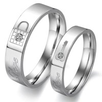 Stainless Steel Couple Rings Wedding Bands Love Lock Finger Shine Crystal W8
