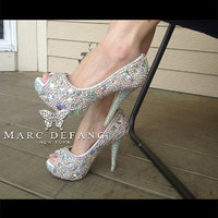 AB snow diamonds casing crystal Peep toe platforms