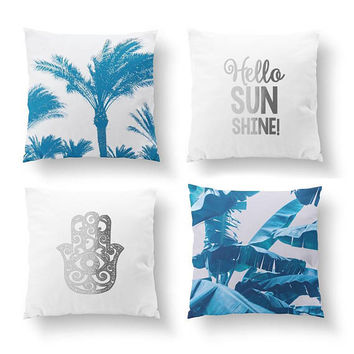 SET of 4 Pillows, Hello Sunshine, Hamsa Hand, Tropical Decor, Gold Pillow, Palm Trees, Bed Pillow, Throw Pillow, Cushion Cover, Boho Art