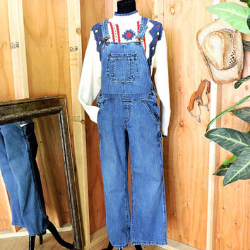Overalls / size M / 90s grunge / womens medium wash bib overalls / Old Navy vintage denim over all jeans / gravelstreetvintage