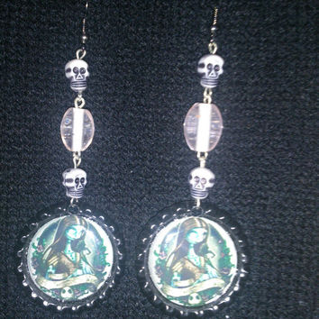 The Nightmare Before Christmas Sally Bottle Cap Earrings with Skulls