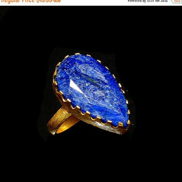 SaleHandmadeJewelry Gold Plated Ring Blue Sapphire Ring Gold Ring Jewelry Faceted Blue Sapphire Blue Color Ring Pear Shape Stone Ring Statem