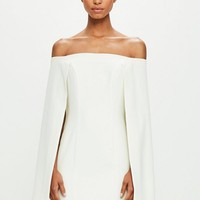 Missguided - Peace + Love White Bardot Cape Tailored Bodycon Dress