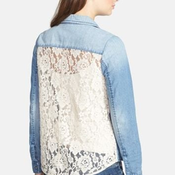 BP. Lace Back Chambray Shirt (Juniors)