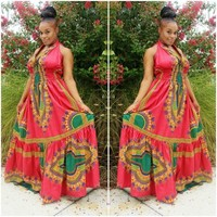 Red Dashiki Print Dress