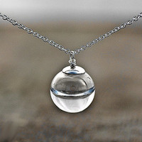Sterling Silver ELIXIR OF LIFE necklace - delicate hollow glass filled with real water necklace. Elegant jewelry for her