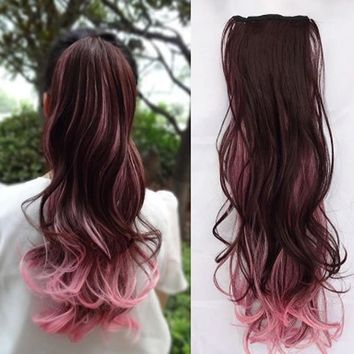 Hair Extensions Long Brown, Bright Pink Tips