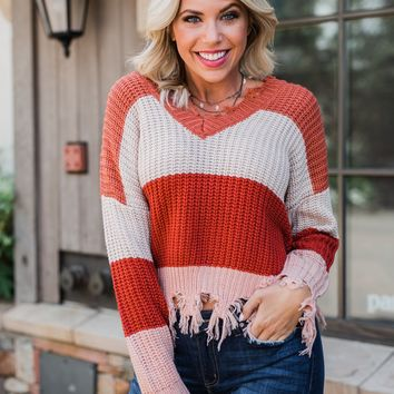 Warm & Cozy Distressed Color Block Sweater- Rust Tones
