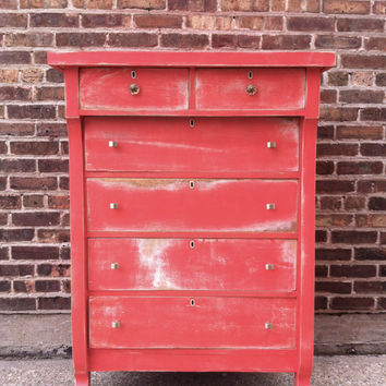 Antique Distressed Highboy In Sensational Salmon