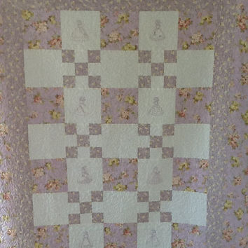 Southern Belle, Crinoline Lady, Handemade Homemade Minkee Large Lap Quilt Throw 55 x 68 inches