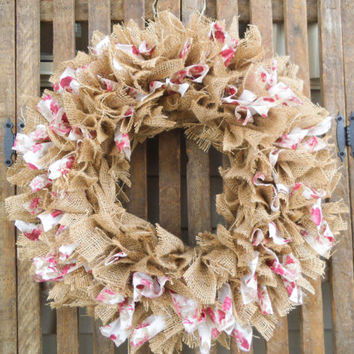 Burlap Wreath - Roses, Rustic Wreath,  Burlap Wreath - Wedding Wreath - Shabby Wreath - Spring Wreath -  Rag  Wreath