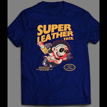 SUPER LEATHER FACE X RETRO VIDEO GAME PARODY HALLOWEEN T-SHIRT
