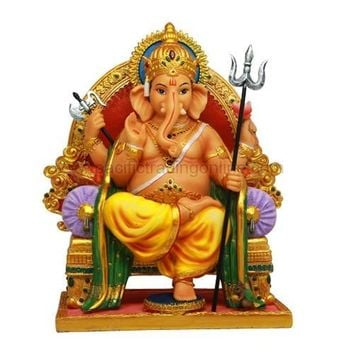 Ganesha Ganesh Seated on Chair Throne Hindu Deity God Statue 8.25H