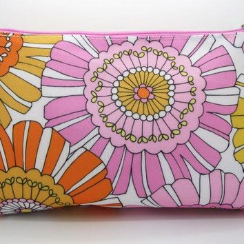 Clinique Pink/Peach Floral print Cosmetic Bag