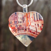 Venice, Italy heart necklace - Glass pendant jewelry - Valentine's Day gift for the world traveler