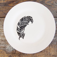 Feather Dinner Plate - Hand Drawn Black and White