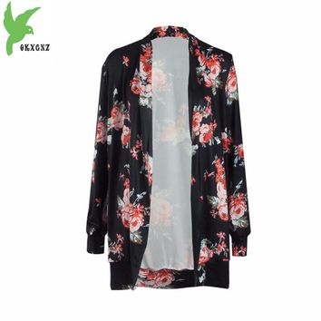OKXGNZ 2017 New Spring Printed Women Jacket Fashion Loose Europe Milk silk Long-sleeved Cardigan Women Outerwear Plus Size A130