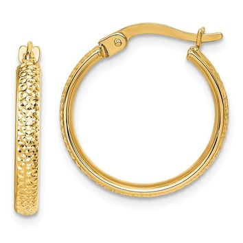 14k Yellow Gold 20 mm Diamond-Cut Hammered Hoop Earrings