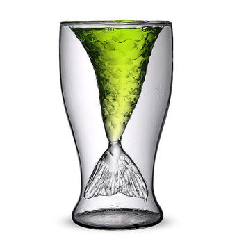 Double Walled Clear Glass Cup Drinking Cup for Party Valentine's Day Gift,Creative Mermaid Glass Cup Beer Glass Mug Glass Jar Glassware