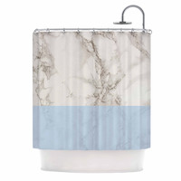 """Suzanne Carter """"Marble And Blue Block"""" Modern Gray Shower Curtain"""