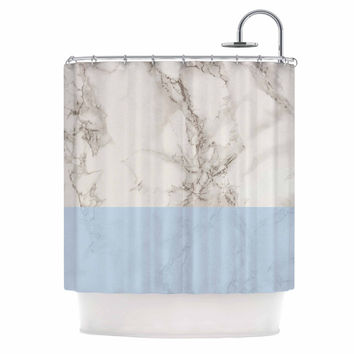 "Suzanne Carter ""Marble And Blue Block"" Modern Gray Shower Curtain"