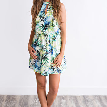 Noelle Tropical Print Dress (Green)