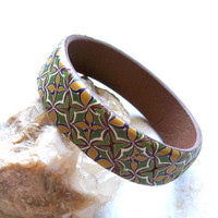 Flowers boho bangle bracelet medium sized polymer clay bracelet in green and yellow shades