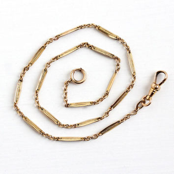 Vintage 14k Rosy Yellow Gold Filled Pocket Watch Chain - Antique Swivel Clip Spring Clasp Dainty Panel J. F. Sturdy Co Jewelry Bracelet